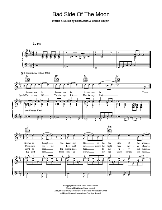 Bad Side Of The Moon Sheet Music