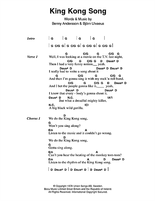 King Kong Song Sheet Music