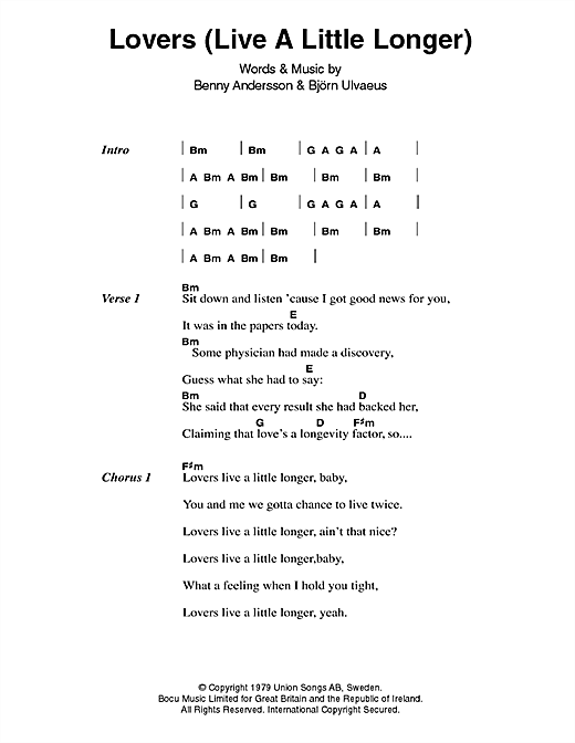 Lovers (Live A Little Longer) Sheet Music
