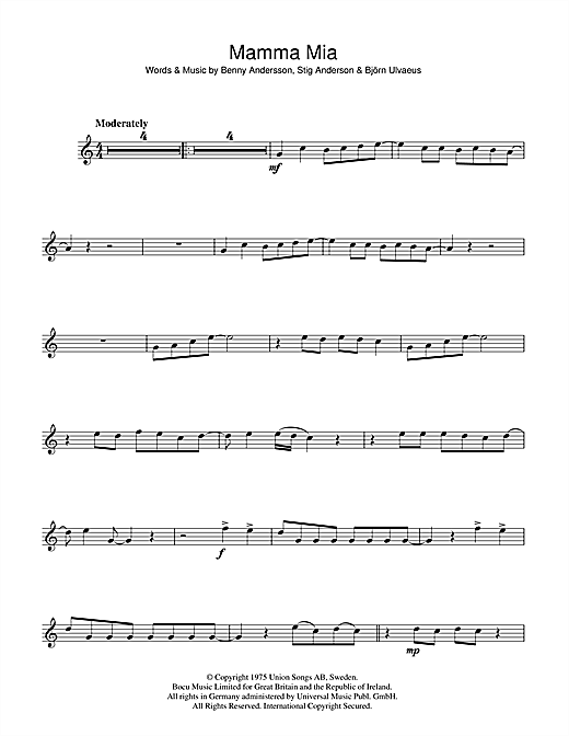 Mamma Mia Flute Solo Print Sheet Music Now