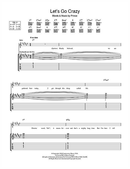Tablature guitare Let's Go Crazy de Prince - Tablature Guitare