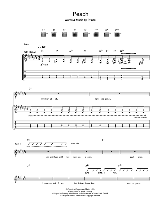 Tablature guitare Peach de Prince - Tablature Guitare