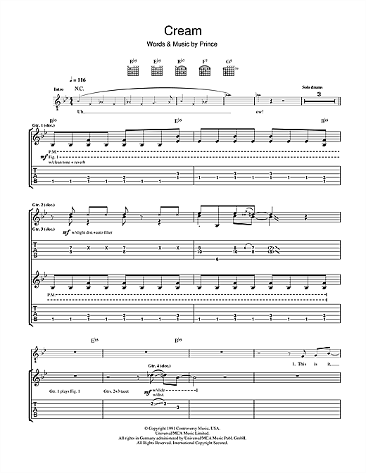 Cream Sheet Music