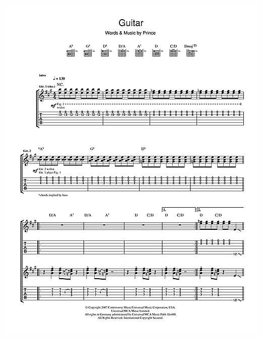 Tablature guitare Guitar de Prince - Tablature Guitare