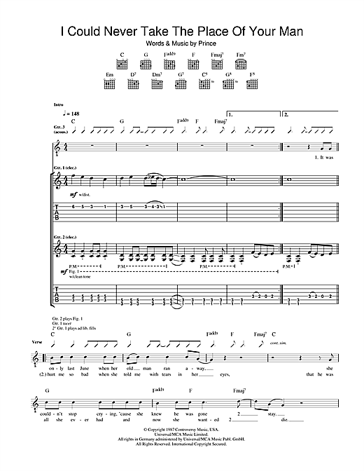 Tablature guitare I Could Never Take The Place Of Your Man de Prince - Tablature Guitare