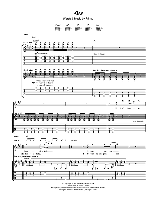Kiss Guitar Tab by Prince (Guitar Tab – 46752)
