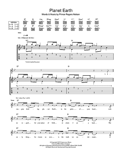 Planet Earth Sheet Music