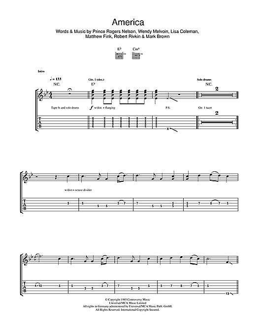Tablature guitare America de Prince & The Revolution - Tablature Guitare