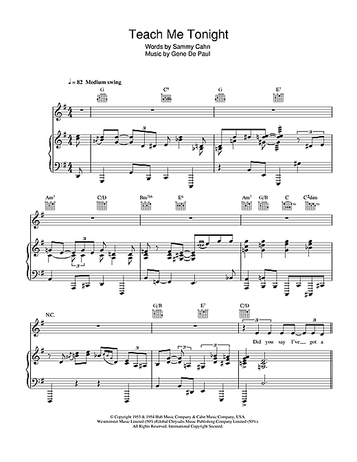 Teach Me Tonight Sheet Music