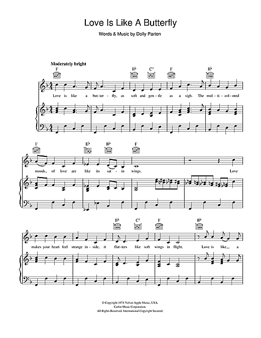 Love Is Like A Butterfly (Piano, Vocal & Guitar (Right-Hand Melody))