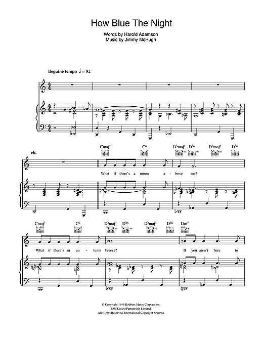 How Blue The Night Sheet Music
