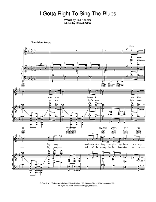 I Gotta Right To Sing The Blues Sheet Music