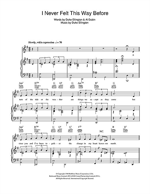I Never Felt This Way Before Sheet Music