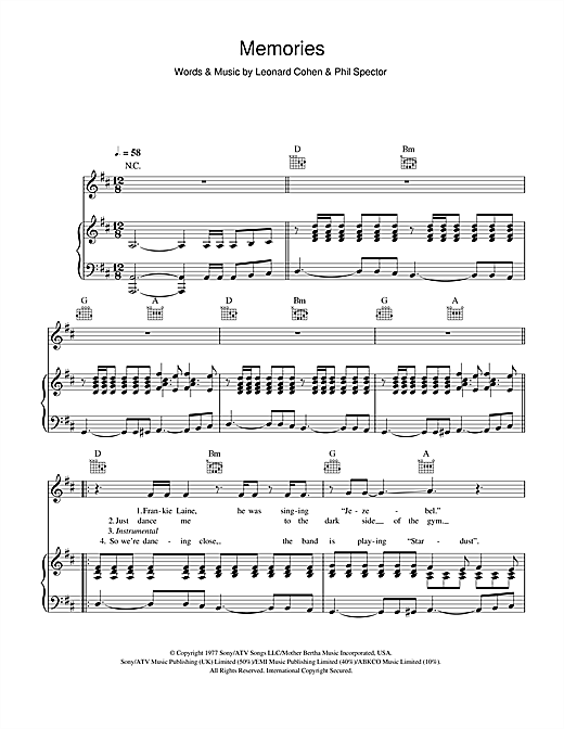 Memories Sheet Music
