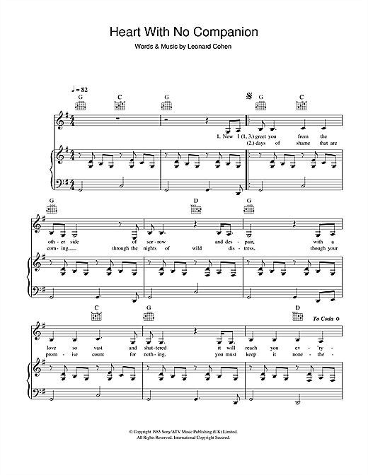 Heart With No Companion Sheet Music