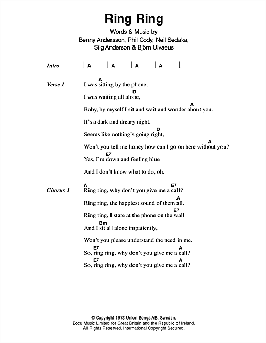 Ring, Ring Sheet Music