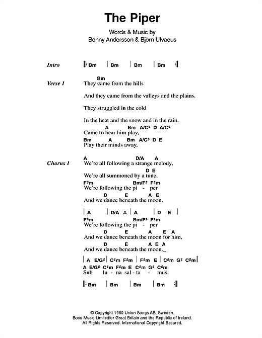 The Piper Sheet Music