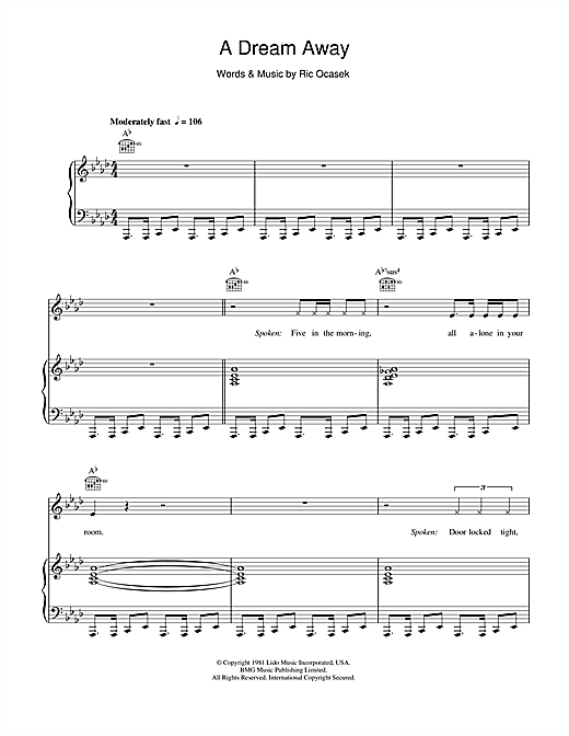 Partition piano A Dream Away de The Cars - Piano Voix Guitare