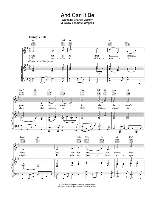 And Can It Be Sheet Music