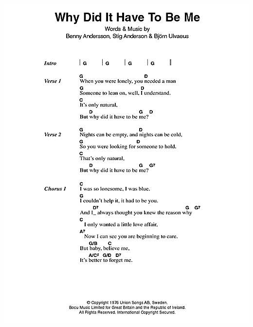 Why Did It Have To Be Me (Guitar Chords/Lyrics)