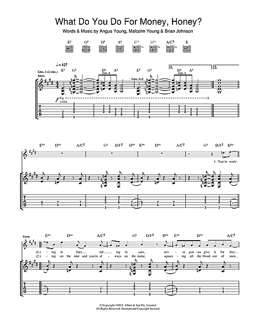 Tablature guitare What Do You Do For Money, Honey? de AC/DC - Tablature Guitare