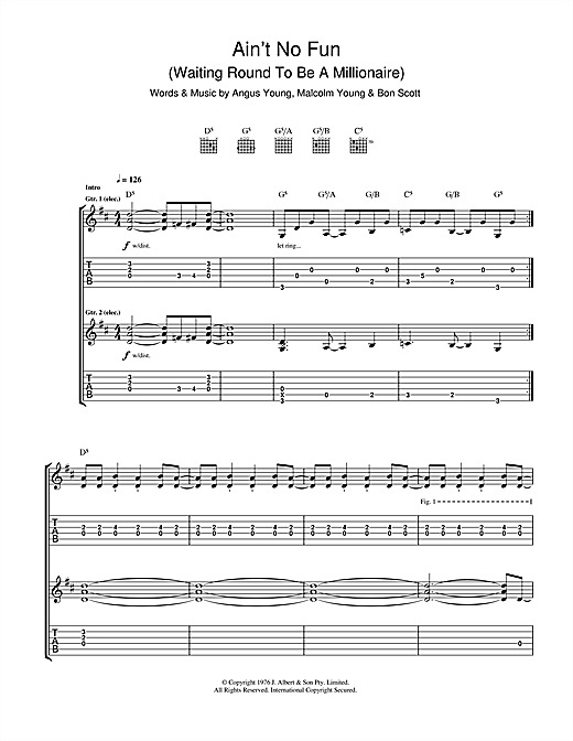 Ain't No Fun (Waiting Around To Be A Millionaire) Sheet Music