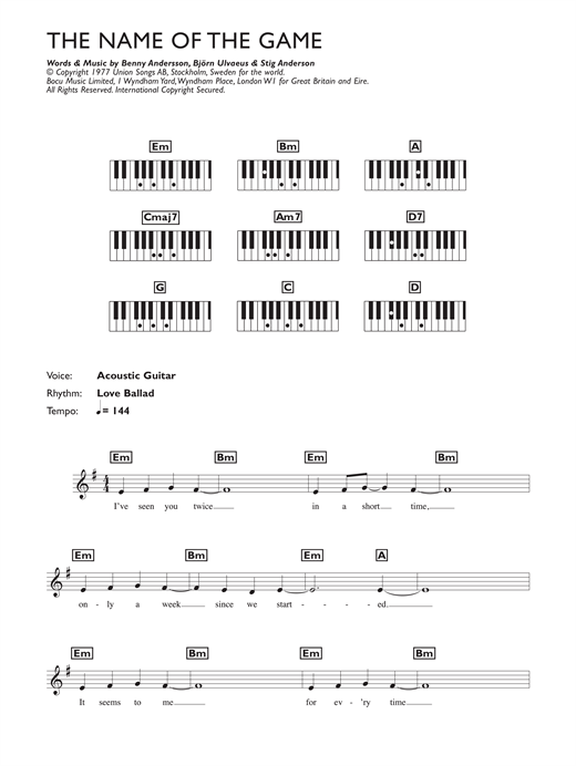 Partition piano The Name Of The Game de ABBA - Synthétiseur