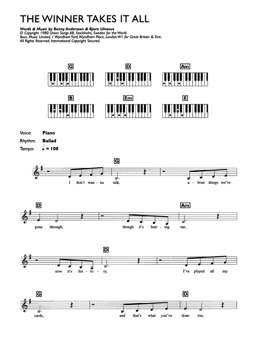 Abba the winner takes it all piano chords