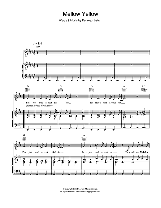 Mellow Yellow Sheet Music