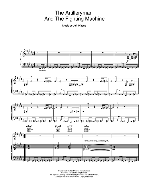 The Artilleryman And The Fighting Machine (from War Of The Worlds) Sheet Music
