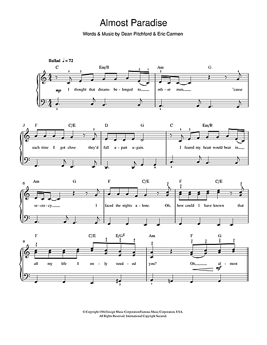Almost Paradise (from Footloose) Sheet Music
