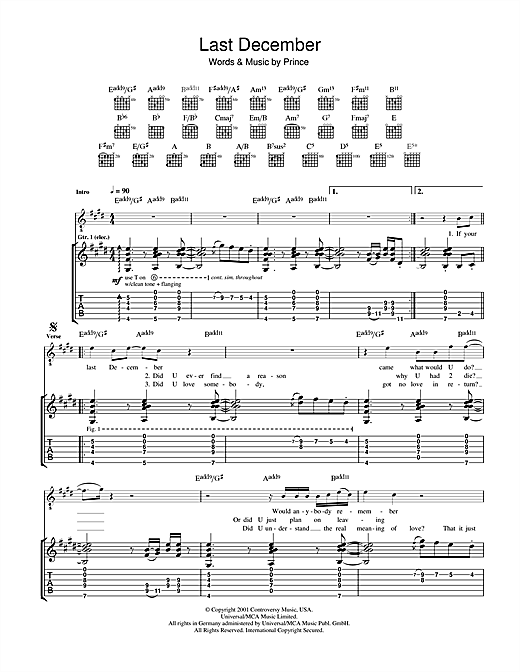 Tablature guitare Last December de Prince - Tablature Guitare