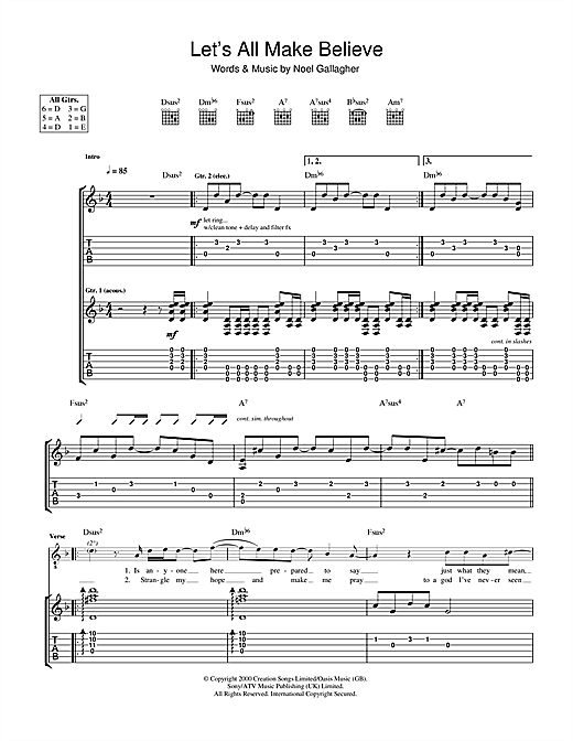 Tablature guitare Let's All Make Believe de Oasis - Tablature Guitare
