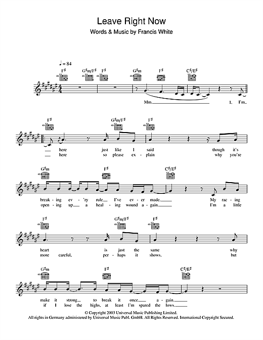 Leave Right Now (Lead Sheet / Fake Book)