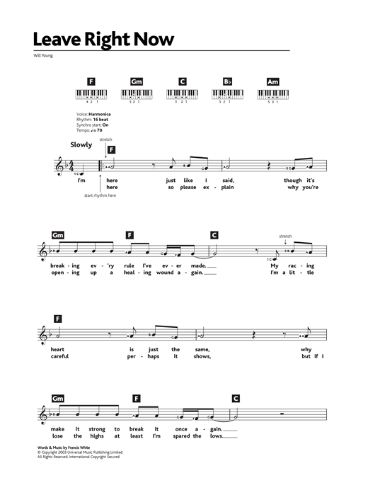 Leave Right Now Sheet Music