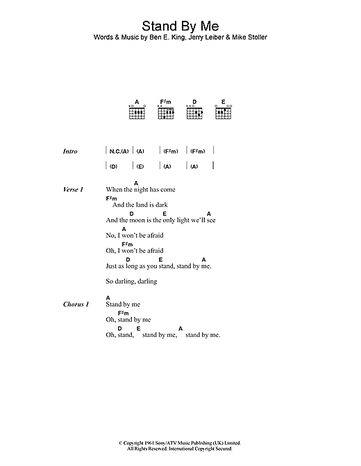 Stand By Me sheet music by Ben E. King (Lyrics u0026 Chords u2013 47134)