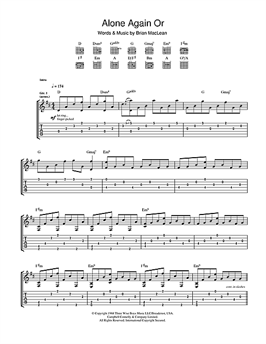 Tablature guitare Alone Again Or de Love - Tablature Guitare