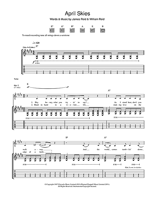 Tablature guitare April Skies de The Jesus And Mary Chain - Tablature Guitare