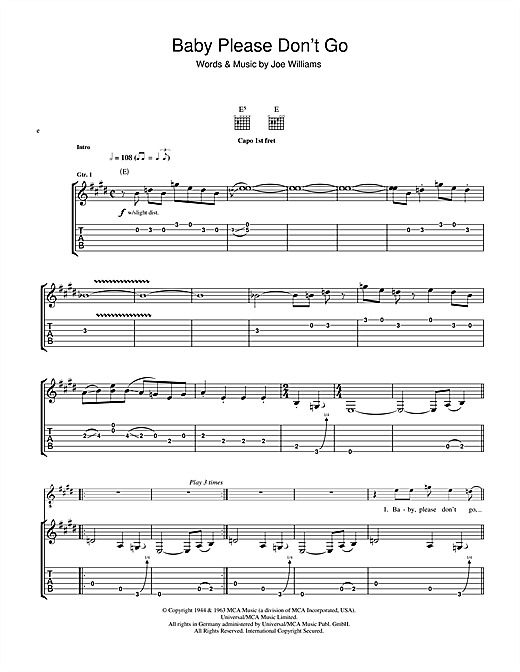 Baby, Please Don't Go Sheet Music