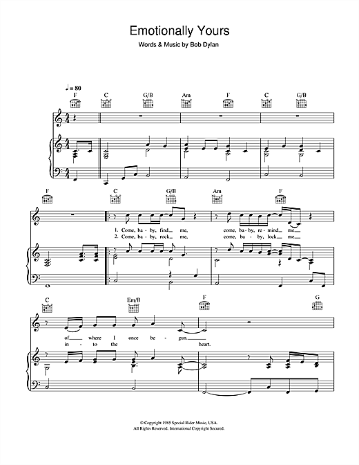 Emotionally Yours Sheet Music