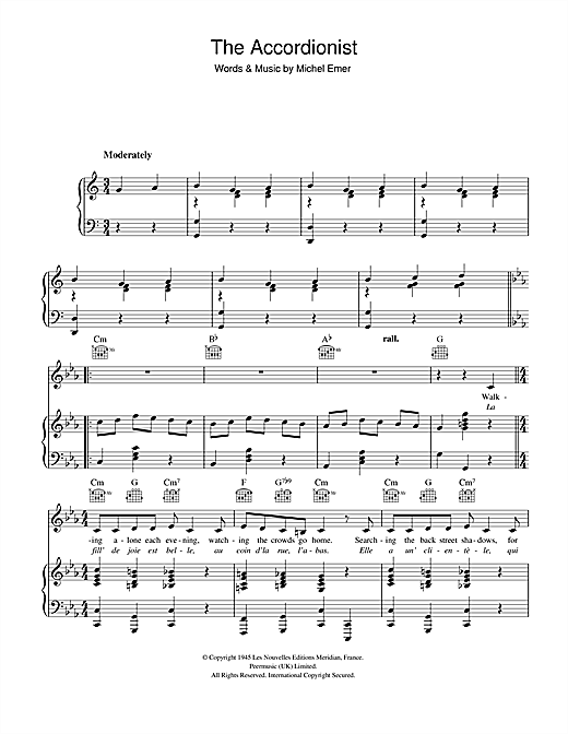 The Accordionist Sheet Music