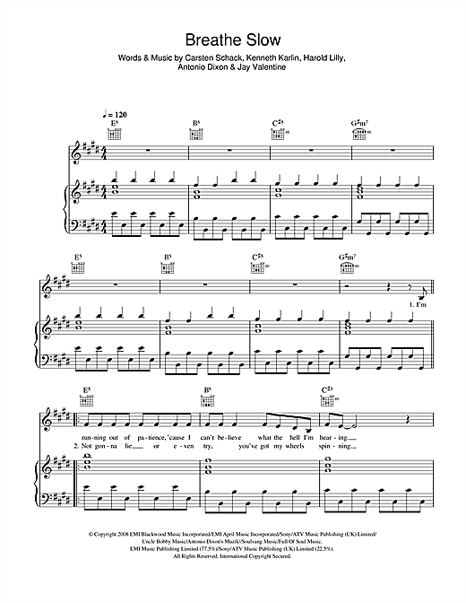 Breathe Slow Sheet Music