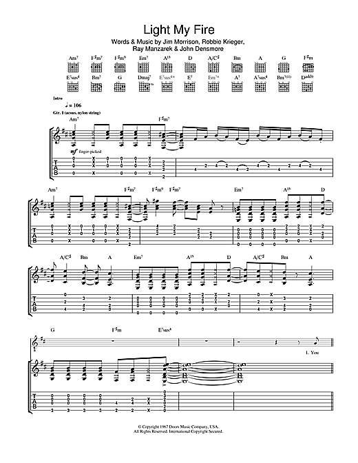 Tablature guitare Light My Fire de José Feliciano - Tablature Guitare