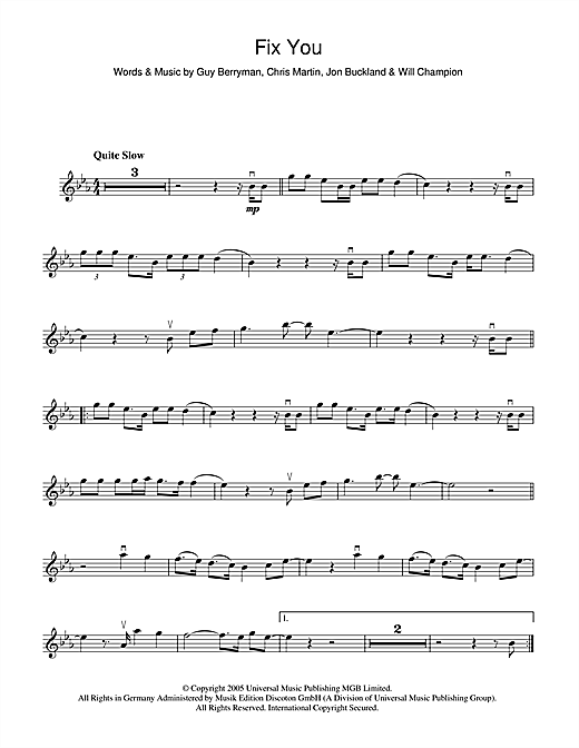 Fix You sheet music by Coldplay (Violin – 47175)