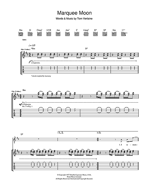 Tablature guitare Marquee Moon de Television - Tablature Guitare