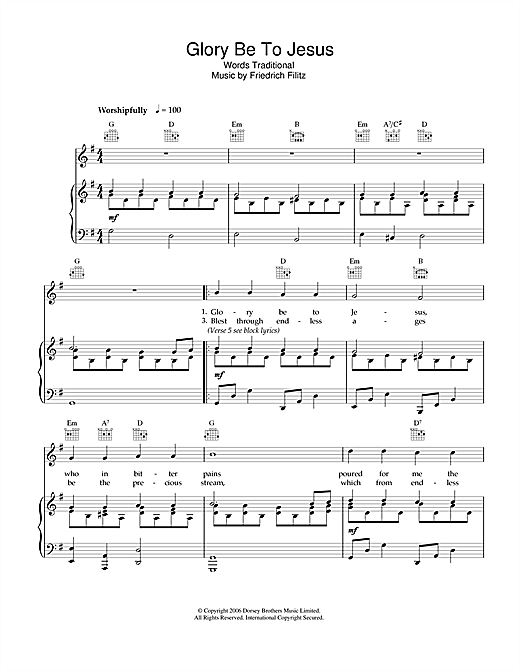 Glory Be To Jesus Sheet Music