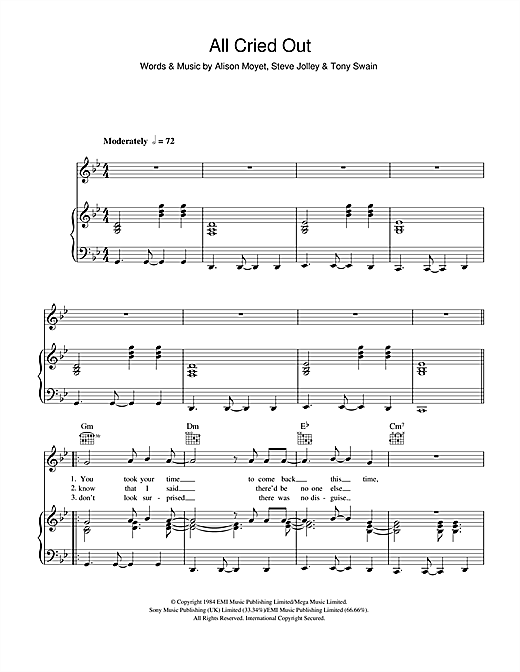 All Cried Out Sheet Music
