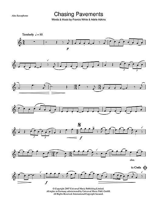 Chasing Pavements Sheet Music