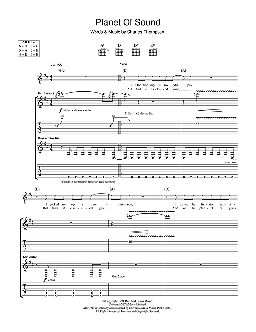 Tablature guitare Planet Of Sound de The Pixies - Tablature Guitare