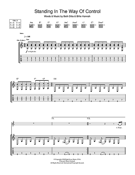 Tablature guitare Standing In The Way Of Control de The Gossip - Tablature Guitare